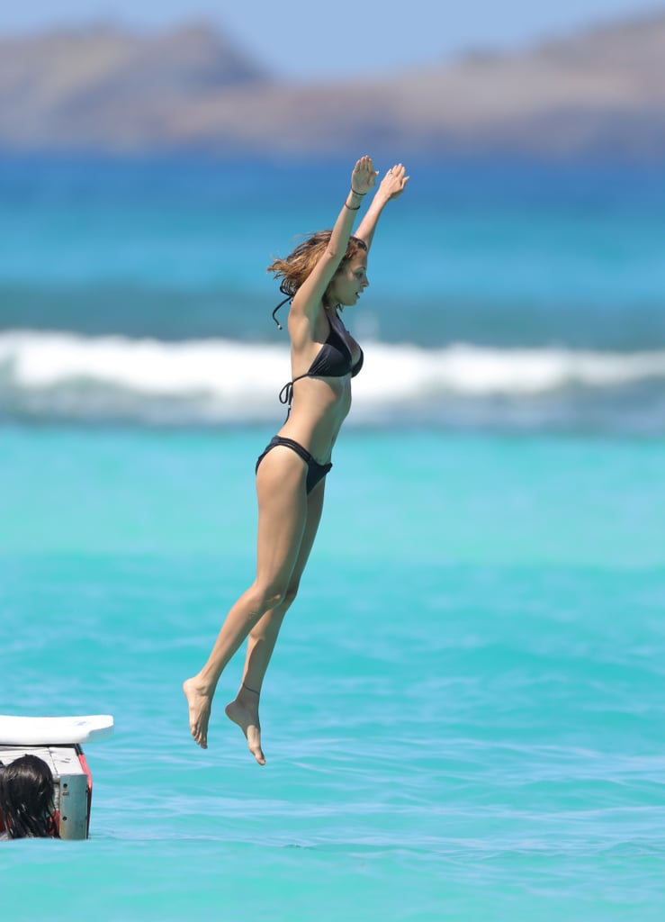 Nicole Richie showed off her fine form when she jumped into the ocean in St. Barts over the weekend.