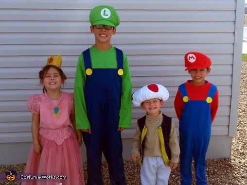 Mario Luigi Toad And Princess Peach Matching Sibling Costumes
