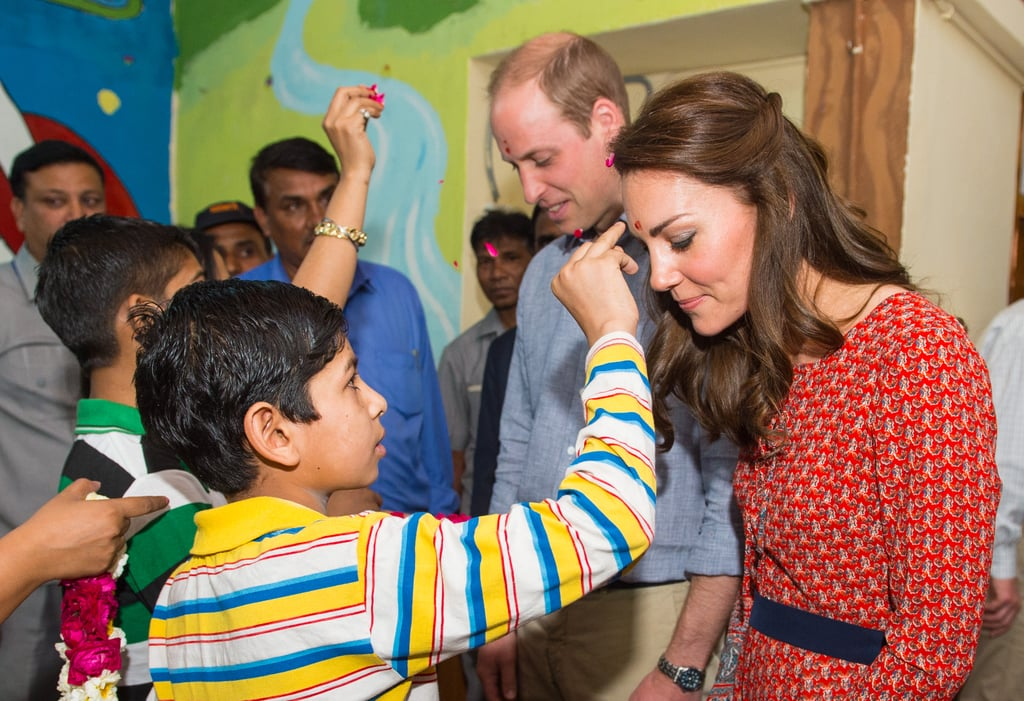 Kate and Will both donned a tilak during their visit in New Delhi, India, in April.