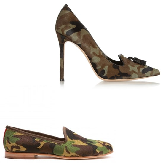 Above: Gianvito Rossi Camouflage-Print Pony Hair Pumps  ($880) Below: Del Toro Perforated Suede Camo Slippers ($325)