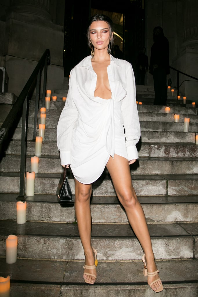 Emily Ratajkowski Wearing White Jacquemus Dress