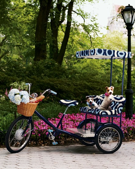 The three-person Tory Burch Electric Tricycle ($4, 500), built by Worksman Cycles, includes a clean-energy electric drive system for a pedal-free ride.