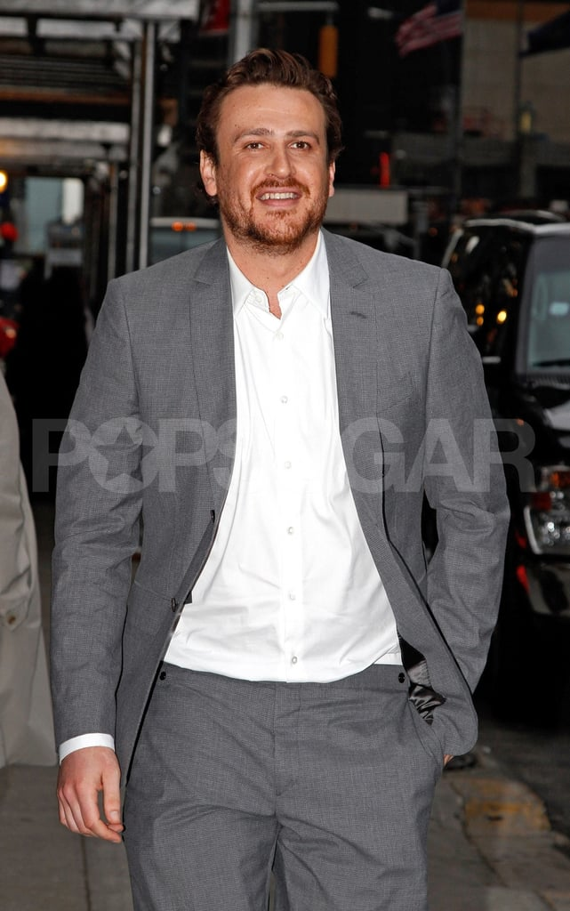 Jason Segel wore a gray suit on his way to dinner with Michelle Williams in SoHo in NYC.
