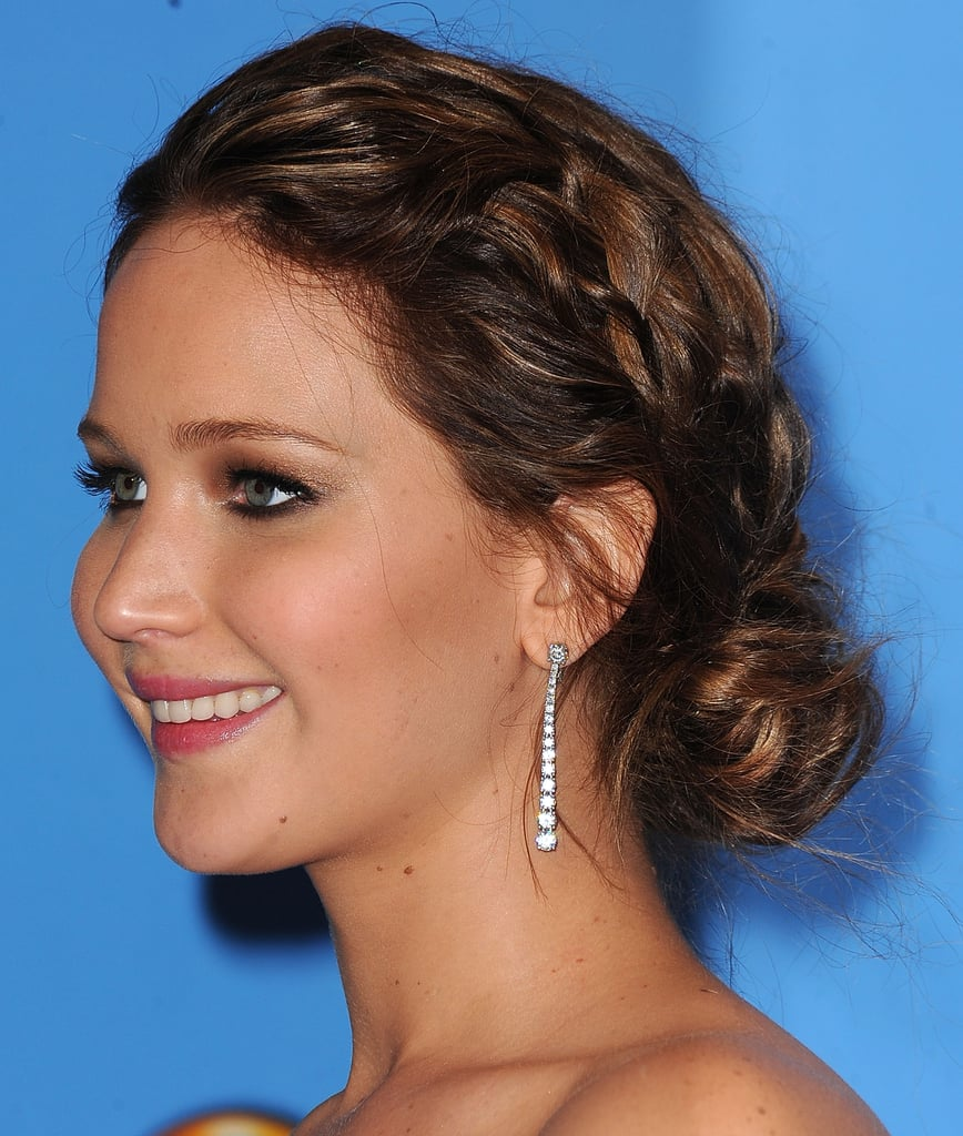 A sweet braid accented Jennifer Lawrence's bun at the Golden Globe Awards.