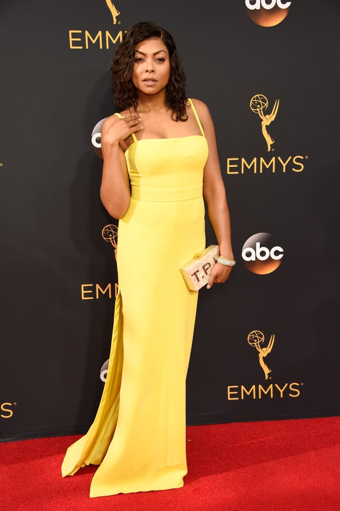 No detail is too small when it comes to an Emmys red carpet look, and Taraji P. Henson knows this well. The Empire star focused on making her accessory, an Edie Parker clutch, the highlight of her outfit. We can see why this piece is so special to Taraji. The designer customized the marble clutch especially for her by writing her initials on the front in sparkly bronze letters. Taraji was even given the choice between two different-colored clutches, and judging from the photos, she chose the lighter option to pair with her Vera Wang dress on the red carpet. Ahead, zoom in on the intricate clutch details for yourself.      Related:                                                                If You Thought Those Emmys Gowns Were Glam, Wait Until You Zoom In on the Accessories                                                                   Swipe Right to Vote For the Best Looks to Hit the Emmys Red Carpet                                                                   See the Sexy Looks the Stars Slipped Into For the Emmys Afterparties