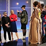 Project Runway Episode 10: Karlie's Red Turtleneck and Blue Pleated Skirt