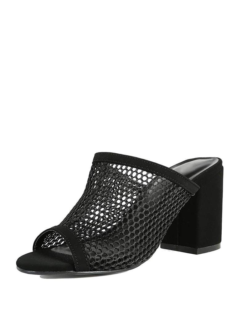 31bedf6ffdc Bamboo Shoes Black Mesh Fishnet Peep Toe Wedges