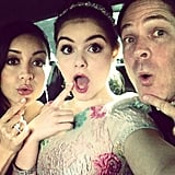 Ariel Winter made silly faces with her family on the way to the Globes. Source: Twitter user arielwinter1