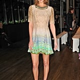 Arizona Muse's minidress is totally relevant for a daytime affair. We adore the ombré detail especially.