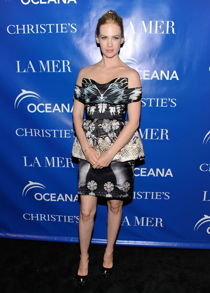 January Jones wore a Mary Katrantzou dress to a screening of La Revolution Bleue in NYC.