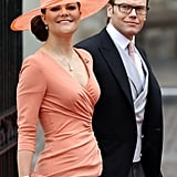Crown Princess Victoria and Prince Daniel arrive at Westminster Abbey for Prince William and Kate Middleton's royal wedding.