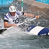 David Florence of Great Britain is one of the first to try out London's new whitewater rafting venue, which was built especially for the games.