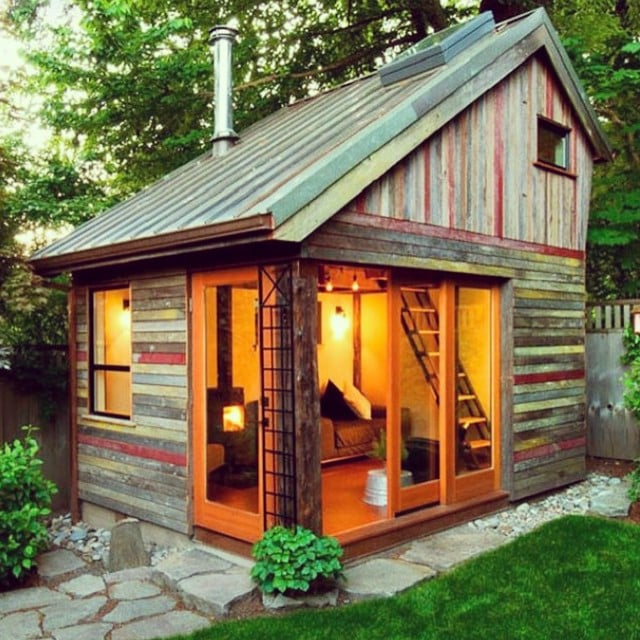 A bilevel shed gives guests more space to unwind.