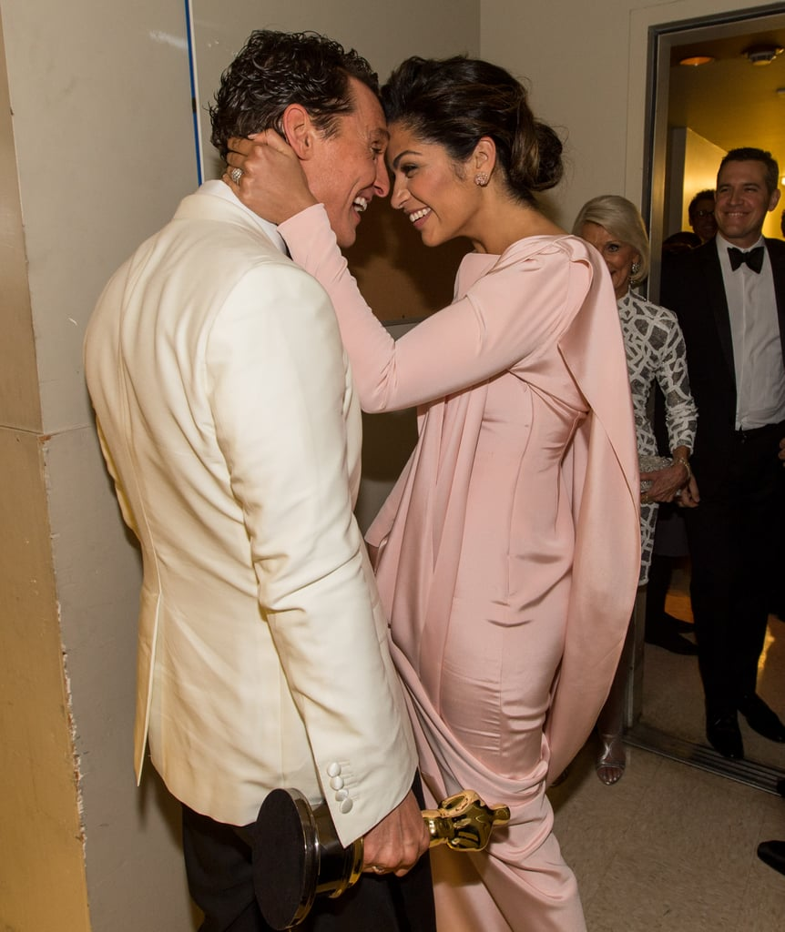 In one of the sweetest couple moments of the Academy Awards, Camila Alves congratulated Matthew McConaughey on his big best actor win backstage.