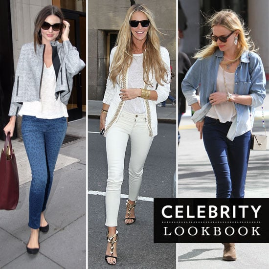 Celebrity Jeans Style Stalk: Printed, Coloured, Cropped or Flared. See how Miranda Kerr, Kate Bosworth & Do Denim