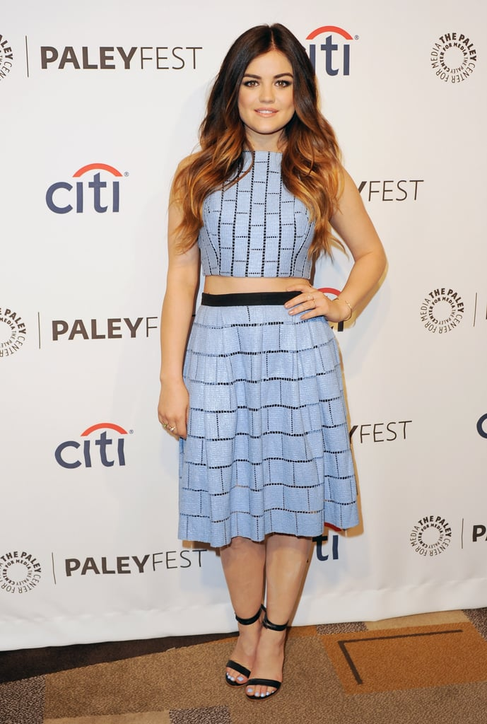 Lucy Hale's bared midriff didn't feel overtly sexy, thanks to Tibi's flirty crop top and skirt set.