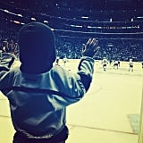 Luca Comrie had the best seat in the house at the first game of the Stanley Cup finals. Source: Instagram user hilaryduff