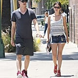 Rachel Bilson gave us another dressed-down look to steal while out with boyfriend Hayden Christensen, this time with strappy red wedges.