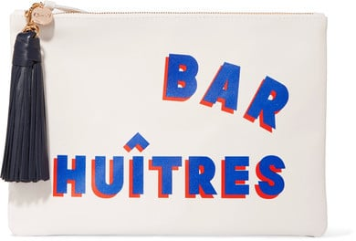Clare V. Supreme Printed Leather Clutch