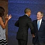 Practicing their handshake in 2016