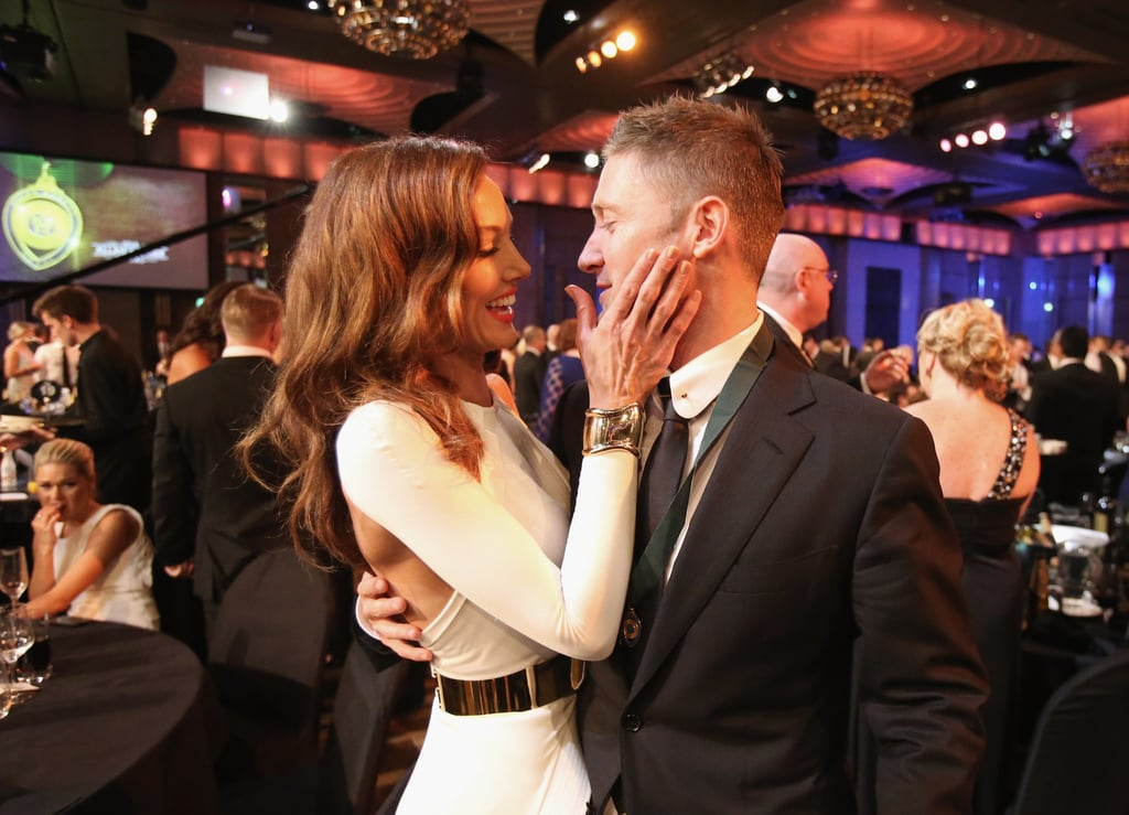 Kyly and Michael Clarke were super loved-up at the 2013 Allan Border Medal awards ceremony in Melbourne on February 4.