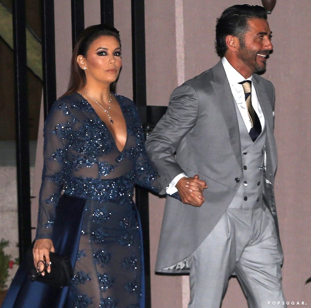 she wore a sheer blue gown with embellished crystals eva longoria