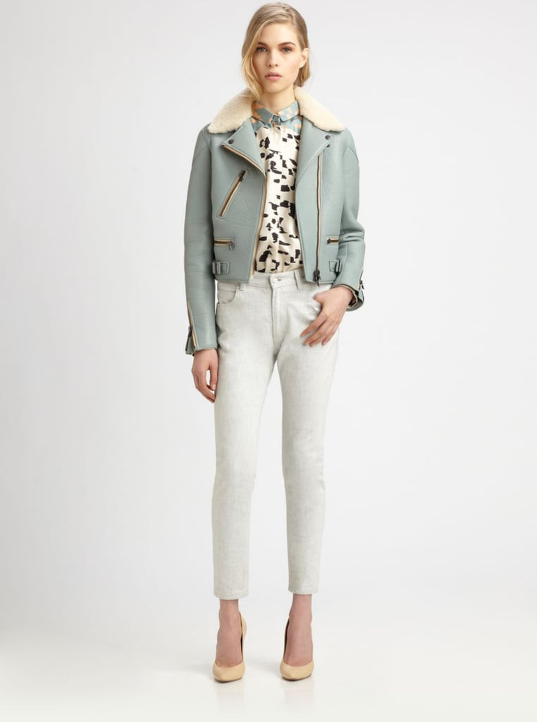 We love a bomber jacket, especially a standout pick like this baby-blue Chloé ($3,750).