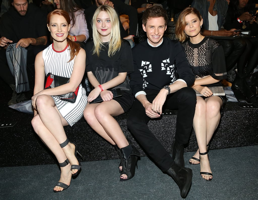 Jessia Chastain, Dakota Fanning, Eddie Redmayne, and Kate Mara sat front row at the Alexander Wang x H&M collection launch.