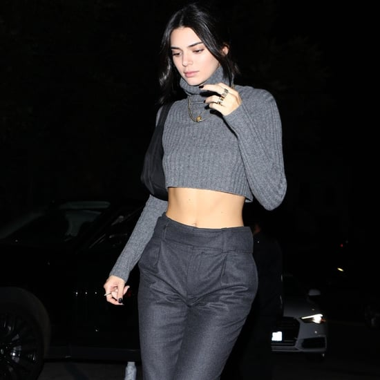 Kendall Jenner Gray Cropped Sweater and Brown Boots 2018