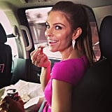 Maria Menounos got her bagel fix while en route to the show. Source: Instagram user mariamenounos78