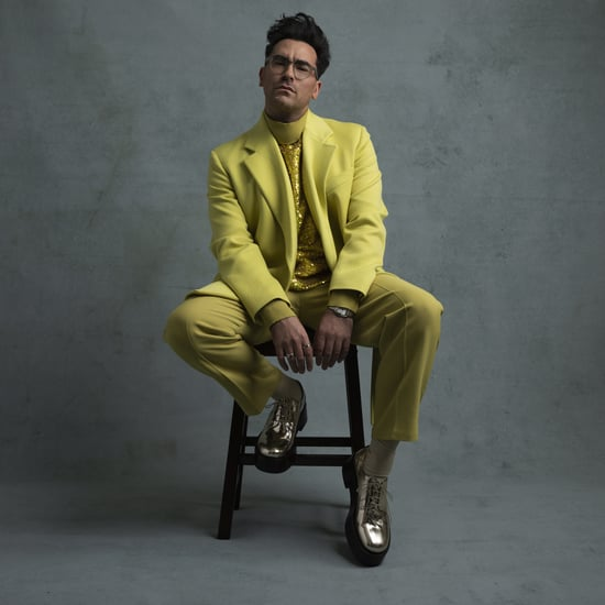Dan Levy's Chartreuse Valentino Suit at the Golden Globes