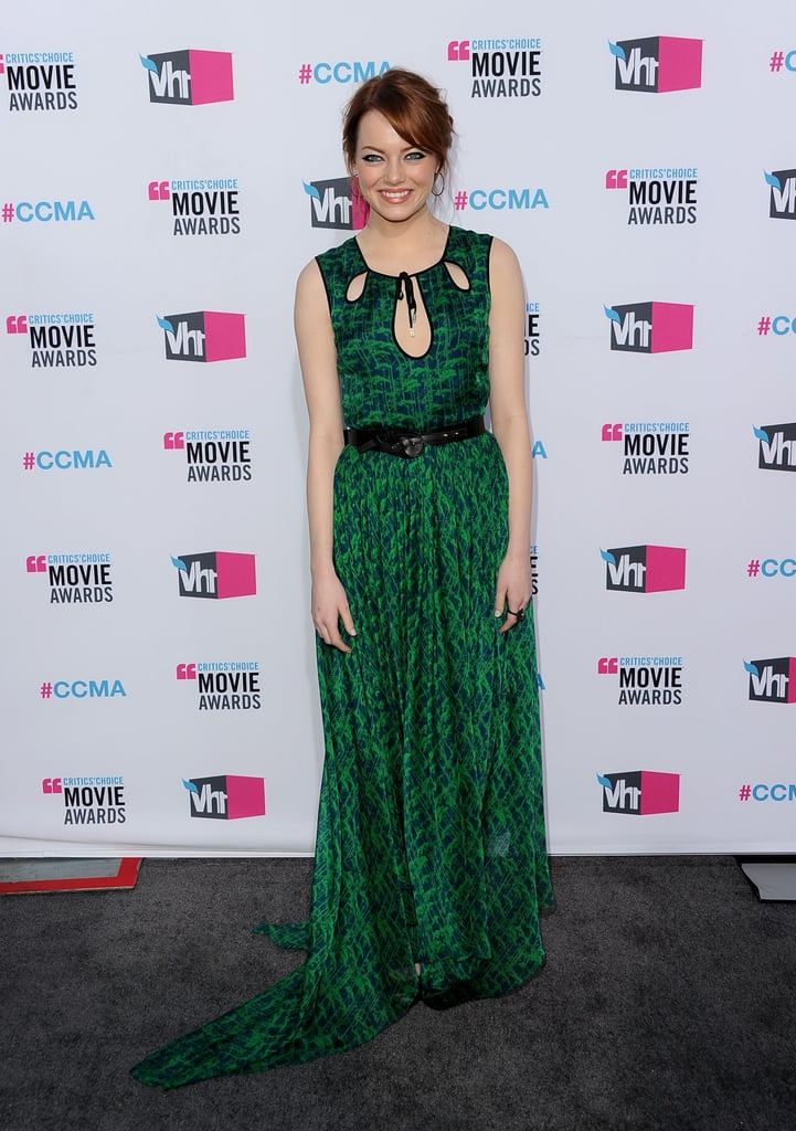 Emma Stone was in a green dress at the 2012 Critics' Choice Movie Awards.