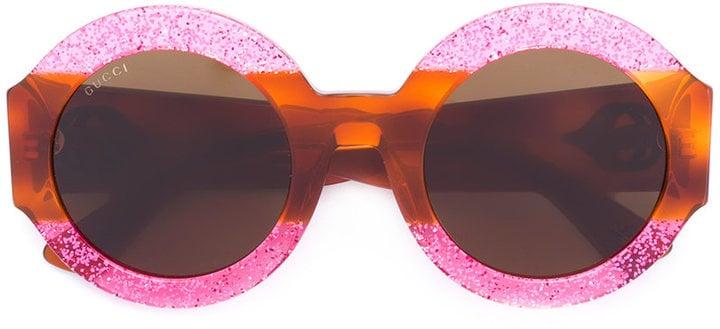 a1d4330c3 Gucci Glitter Tortoiseshell Round Sunglasses | Vintage-Inspired ...