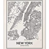 New York Map Post Print