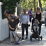 Gwen Stefani with Kingston and Zuma in London.