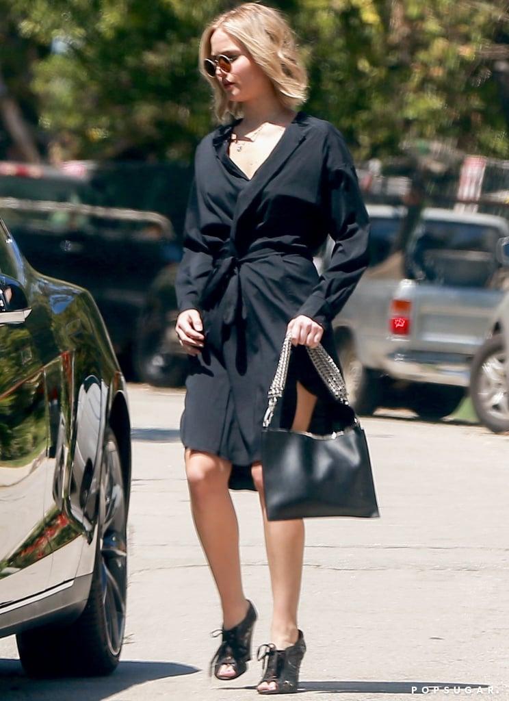 Jennifer Lawrence Peep Toe Wedges