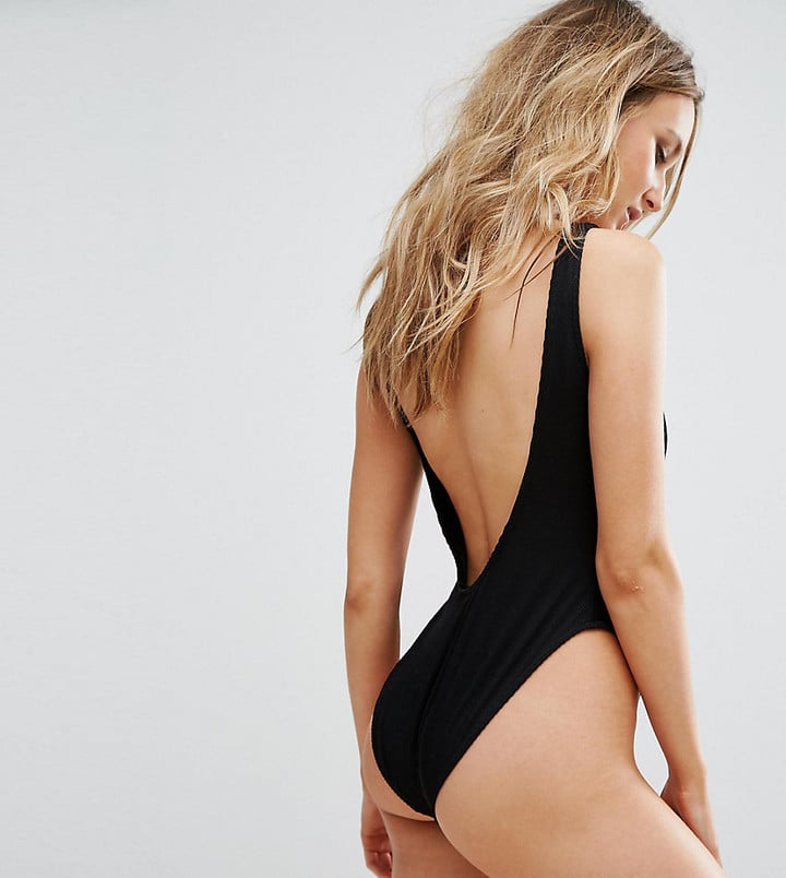 Missguided Ribbed Low Back Swimsuit