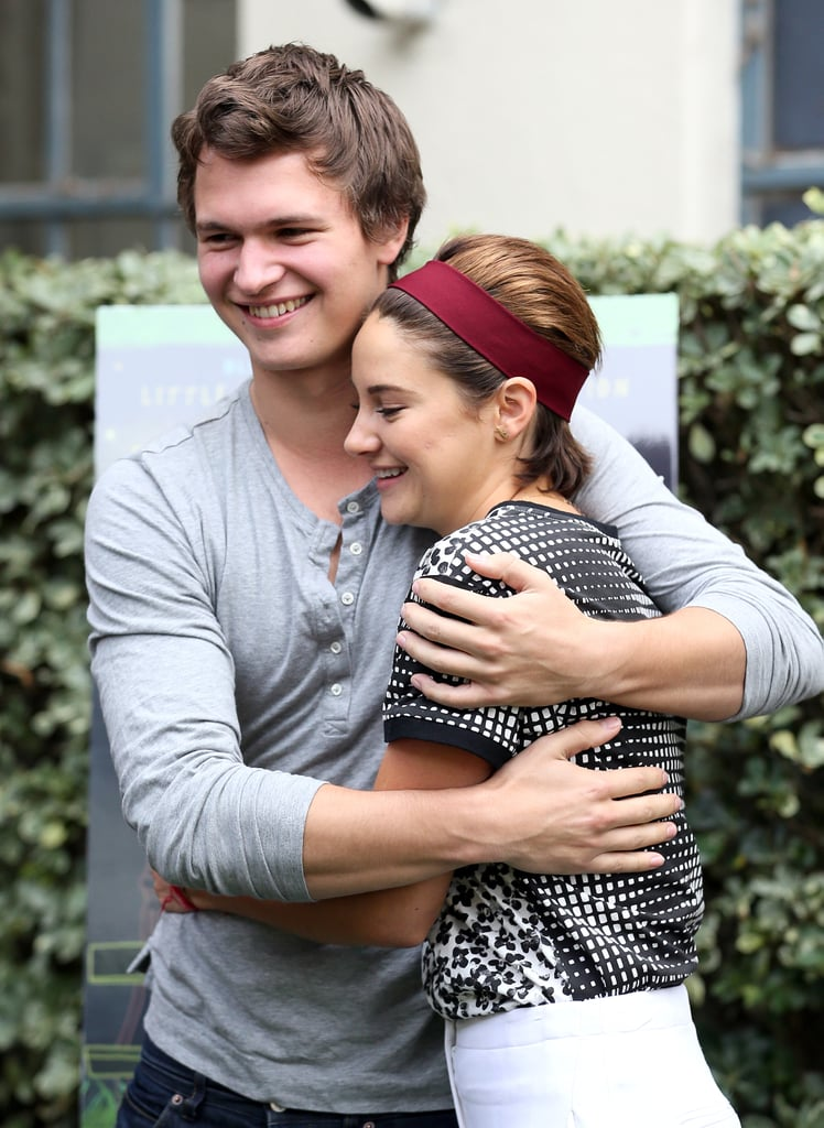 Ansel Elgort and Shailene Woodley shared a cute hug during an event for their film The Fault in Our Stars in November 2014.