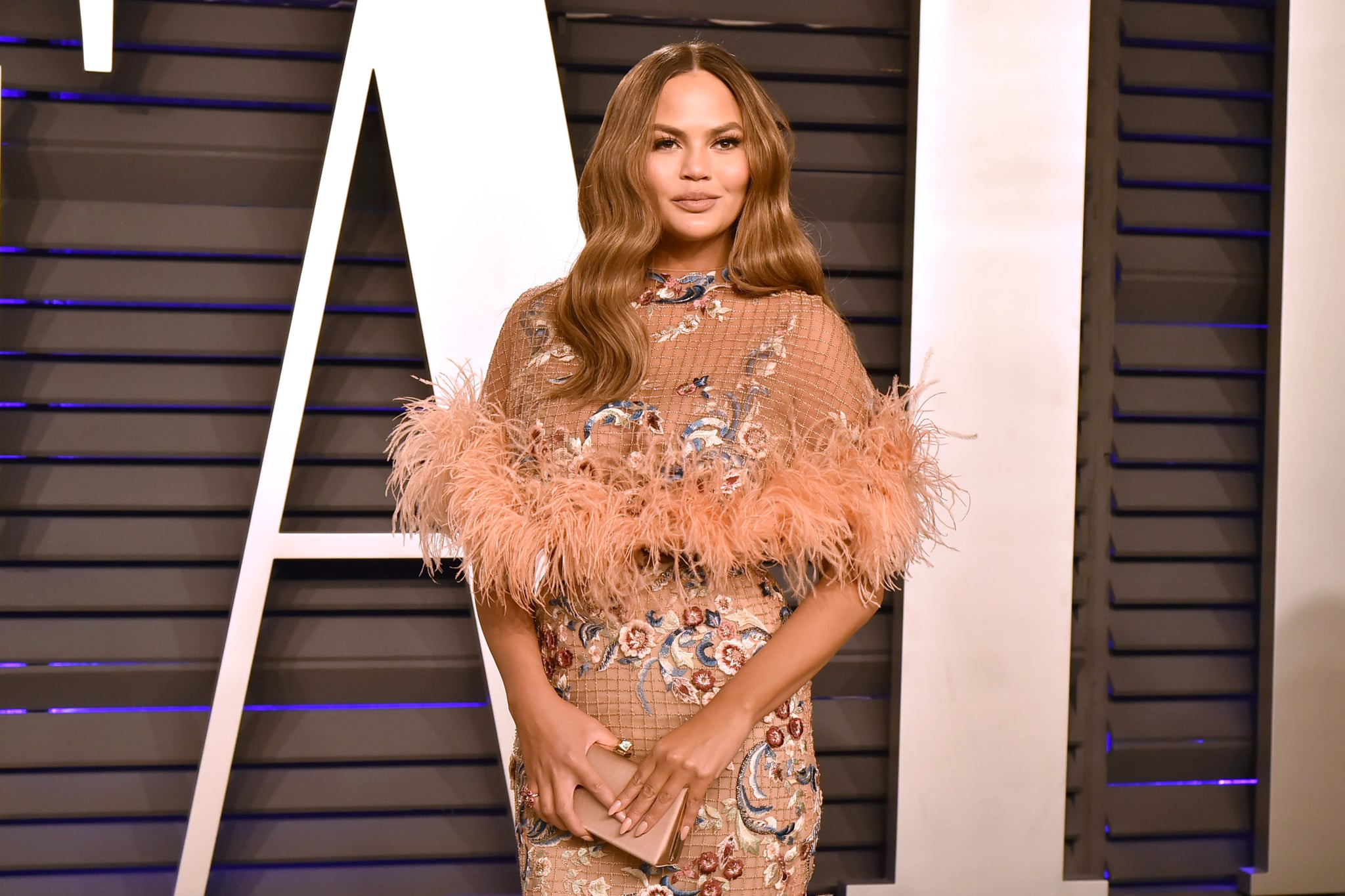 BEVERLY HILLS, CALIFORNIA - FEBRUARY 24: Chrissy Teigen attends the 2019 Vanity Fair Oscar Party at Wallis Annenberg Centre for the Performing Arts on February 24, 2019 in Beverly Hills, California. (Photo by David Crotty/Patrick McMullan via Getty Images)