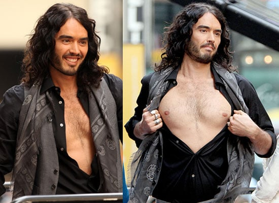 Pictures of Shirtless Russell Brand on the Today Show in NYC Before His 35th Birthday