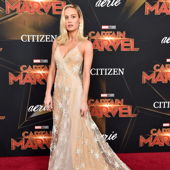 Brie Larson Gold Gown at Captain Marvel Premiere
