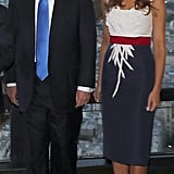 Melania's Custom Dress For Dinner in Paris, July 2017