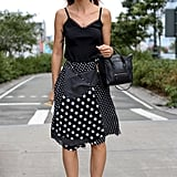 Polka dots got a modern touch in an asymmetrical cut, finished with a Céline minitote and statement shades.