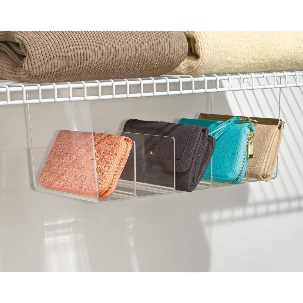 mDesign Plastic 5 Compartment Hanging Closet Storage