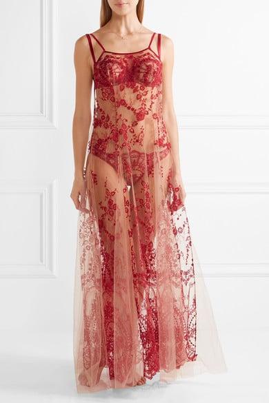 I.D. Sarrieri La Naissance De Venus Embroidered Tulle Nightdress — Claret ($1,285)