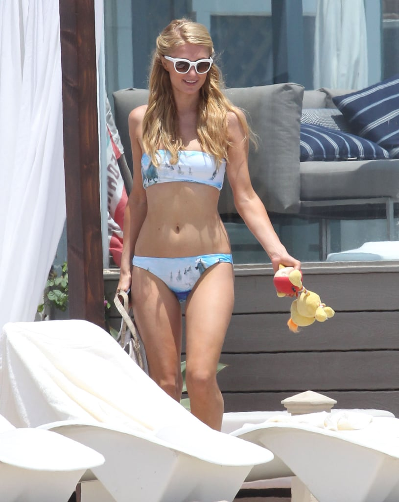 Paris Hilton donned a bikini for a July day on the beach in Malibu with her dogs.