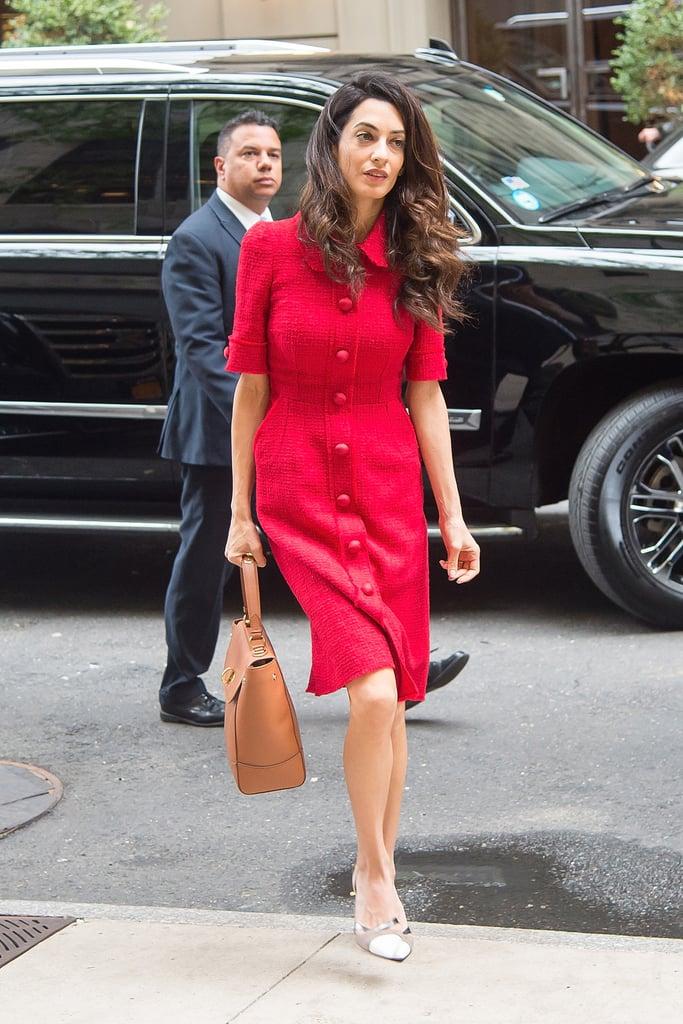 Amal Clooney Wearing Red Dolce & Gabbana Dress