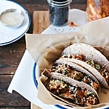 Brussels Sprouts Kimchi Tacos With Miso Crema