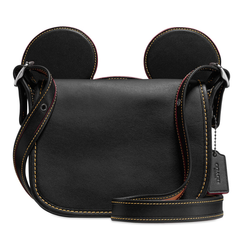 Mickey Mouse Ears Patricia Leather Saddle Bag by Coach — Black ($280)