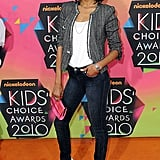 Zoe wears an Isabel Marant blazer, denim skinnies, and Christian Louboutin pumps at the Kids' Choice Awards in LA.